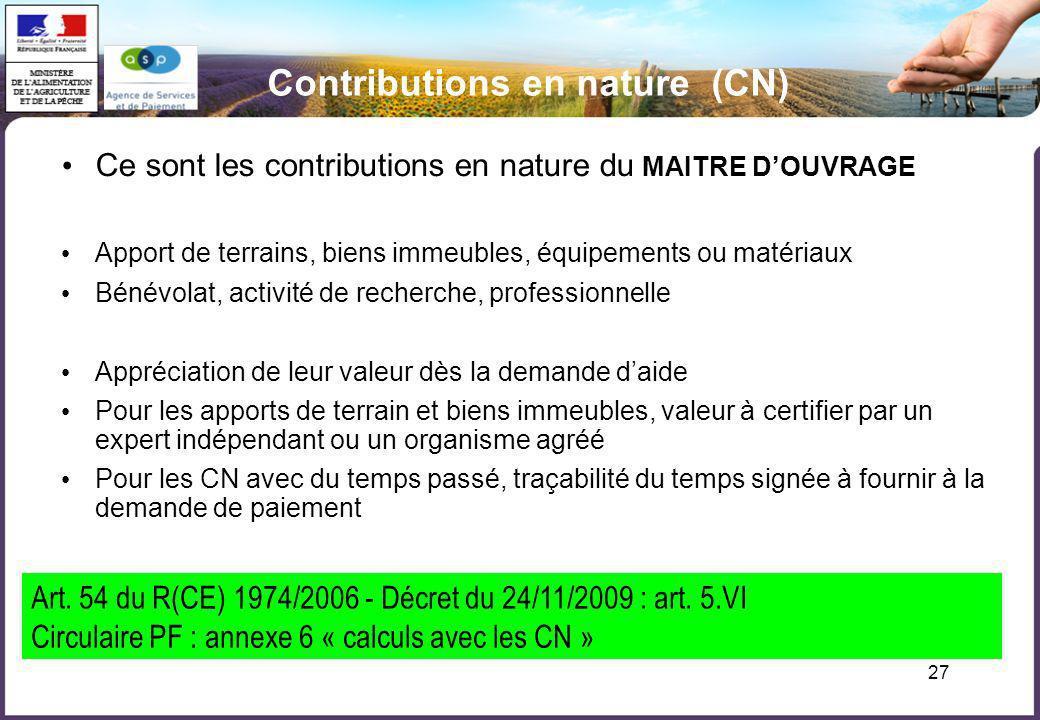 Contributions en nature (CN)