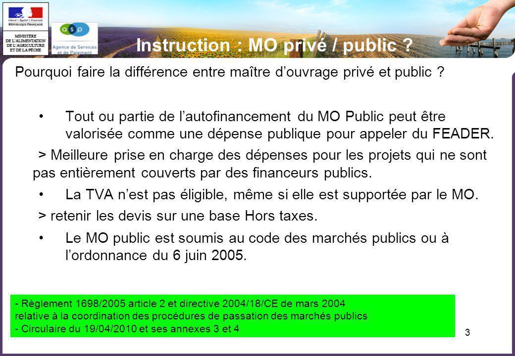 Instruction : MO privé / public