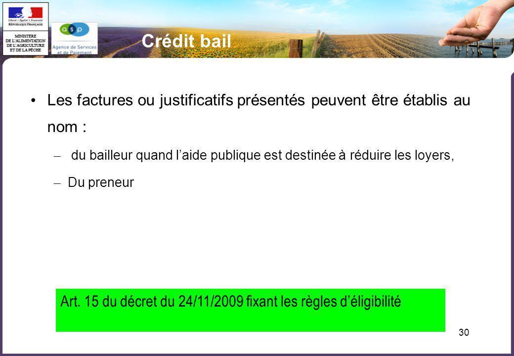 Crédit bail Les factures ou justificatifs présentés peuvent être établis au nom :
