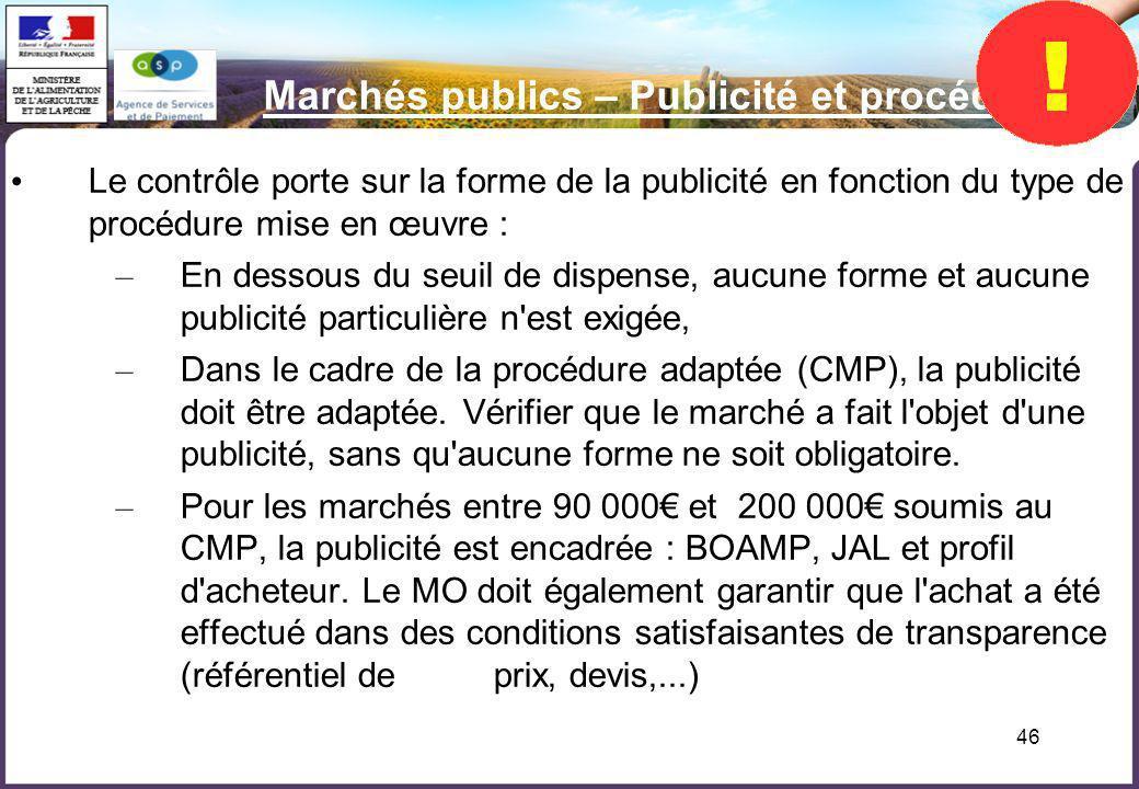 Marchés publics – Publicité et procédure