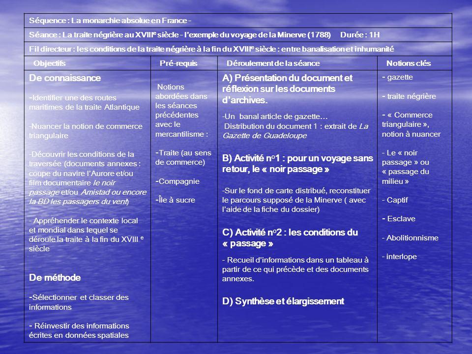 A) Présentation du document et réflexion sur les documents d'archives.