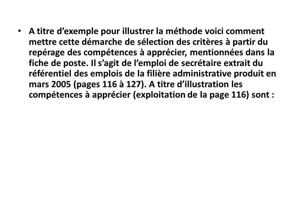 A titre d'exemple pour illustrer la méthode voici comment mettre cette démarche de sélection des critères à partir du repérage des compétences à apprécier, mentionnées dans la fiche de poste.