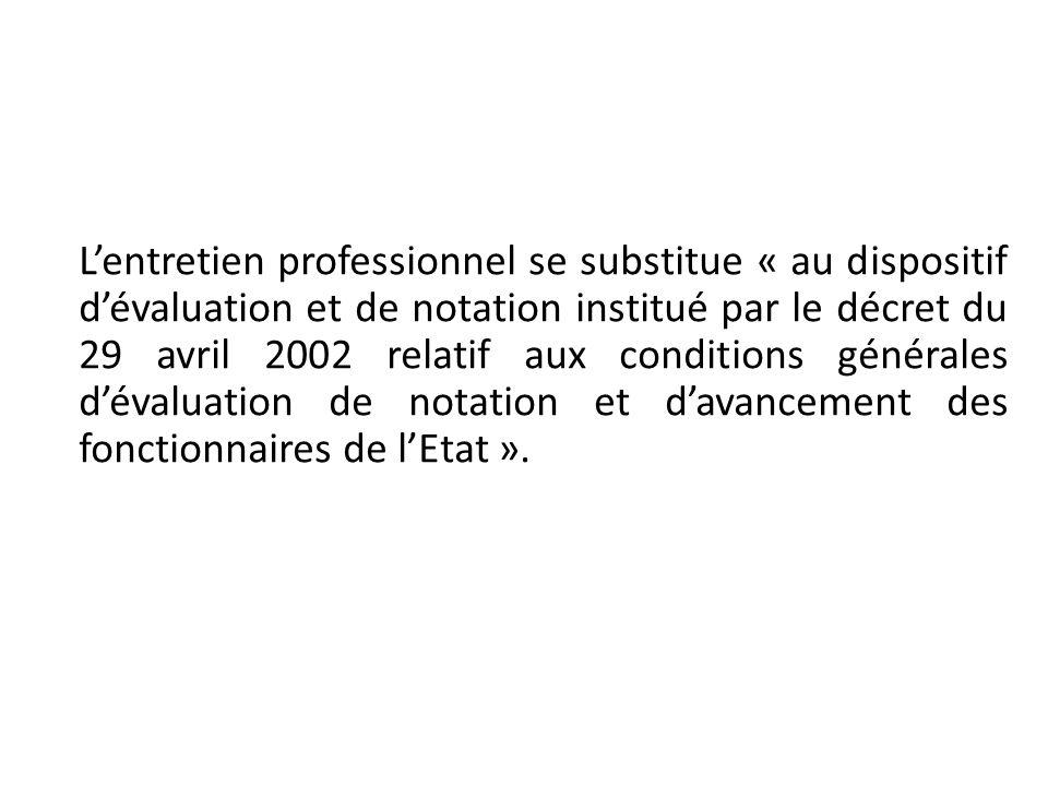 L'entretien professionnel se substitue « au dispositif d'évaluation et de notation institué par le décret du 29 avril 2002 relatif aux conditions générales d'évaluation de notation et d'avancement des fonctionnaires de l'Etat ».