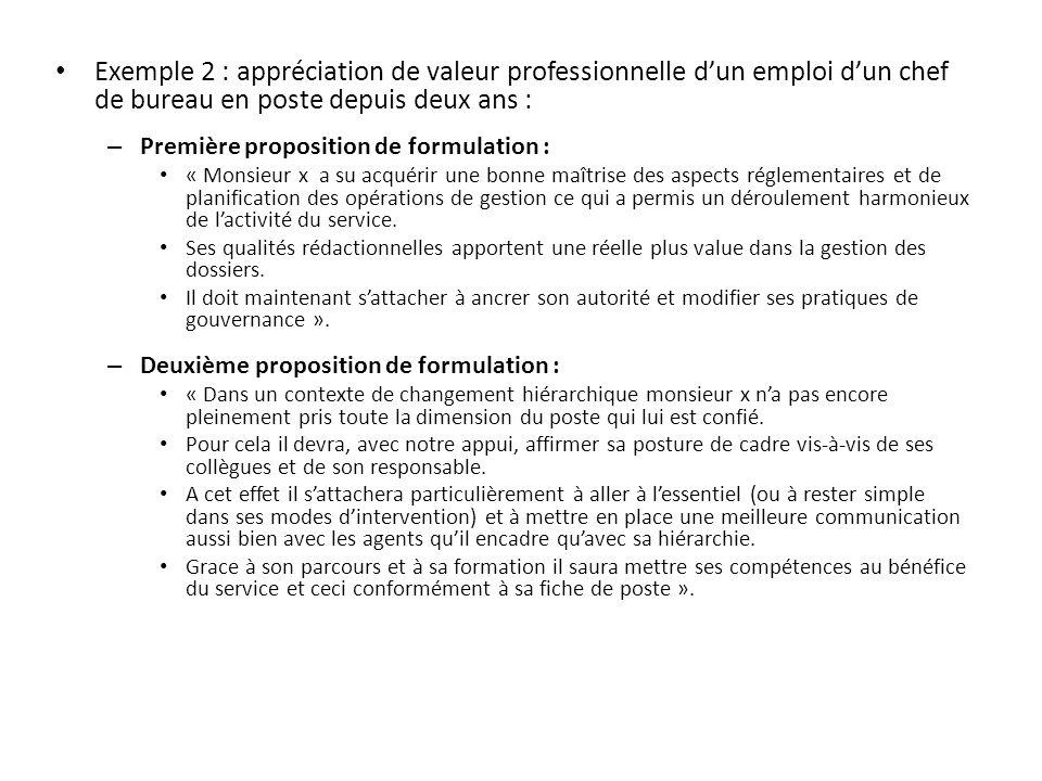 Exemple 2 : appréciation de valeur professionnelle d'un emploi d'un chef de bureau en poste depuis deux ans :