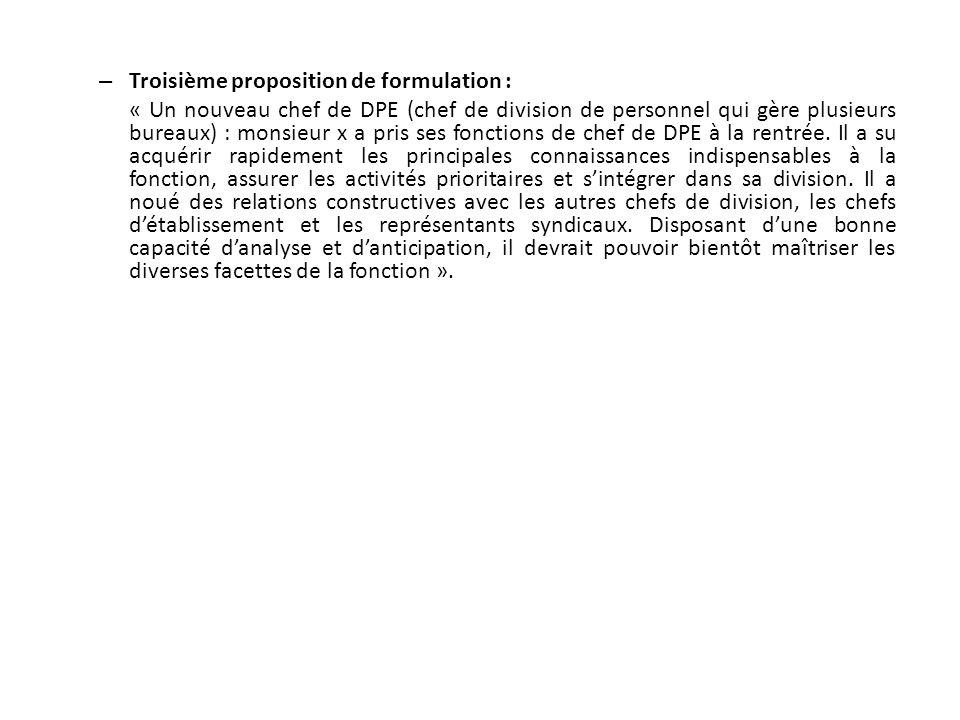 Troisième proposition de formulation :