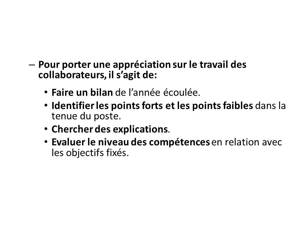 Pour porter une appréciation sur le travail des collaborateurs, il s'agit de: