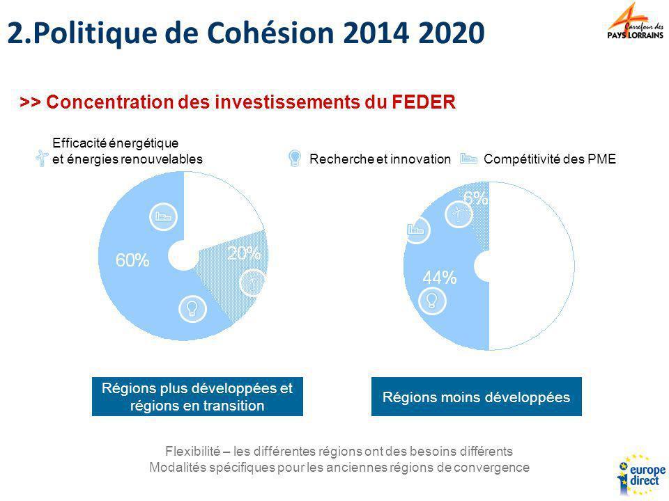 Politique de Cohésion 2014 2020 >> Concentration des investissements du FEDER. Efficacité énergétique et énergies renouvelables.