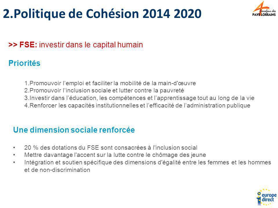 Politique de Cohésion 2014 2020 >> FSE: investir dans le capital humain. Priorités. Promouvoir l'emploi et faciliter la mobilité de la main-d œuvre.