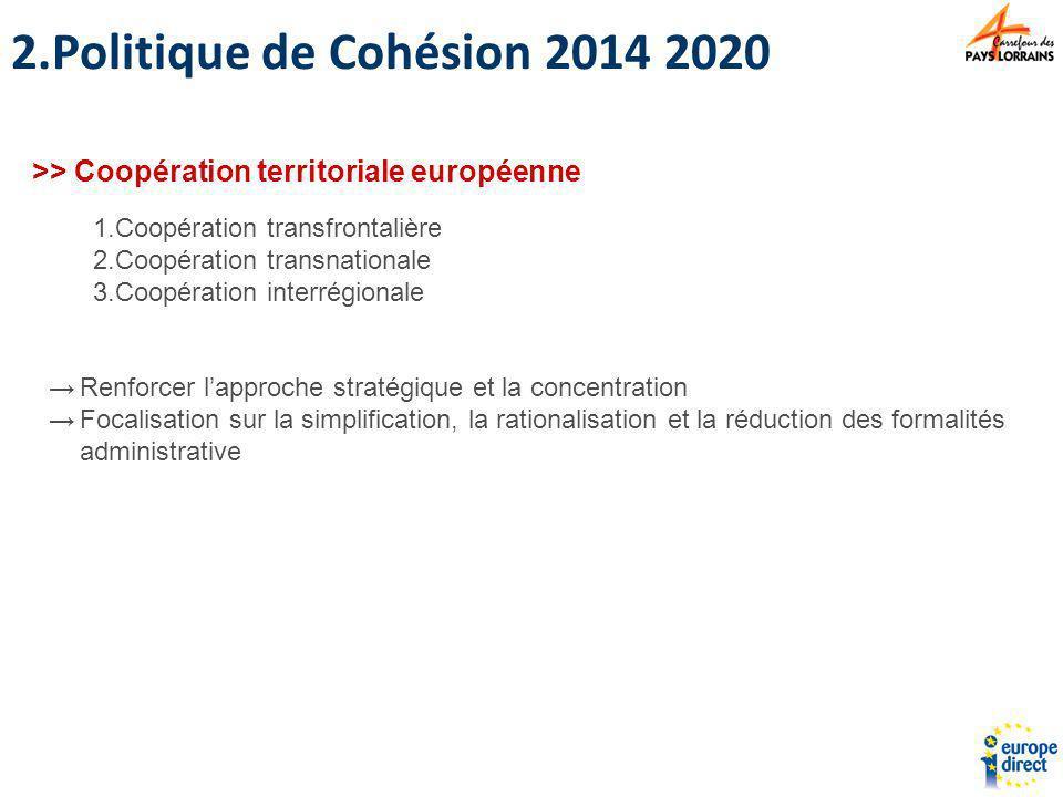 Politique de Cohésion 2014 2020 >> Coopération territoriale européenne. Coopération transfrontalière.