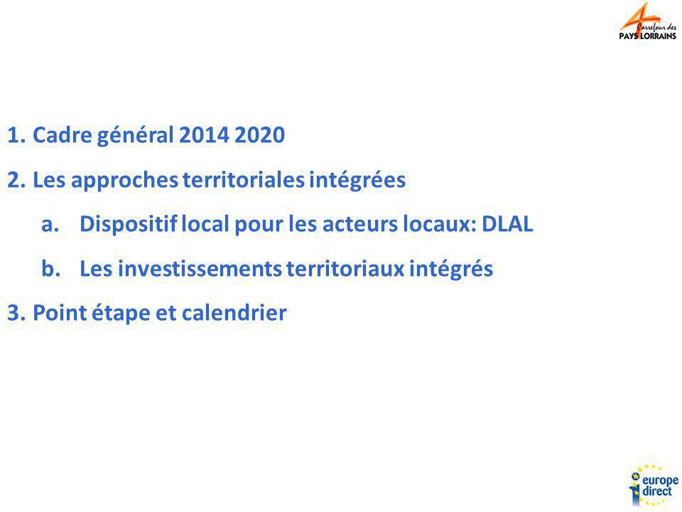 Cadre général 2014 2020 Les approches territoriales intégrées. Dispositif local pour les acteurs locaux: DLAL.