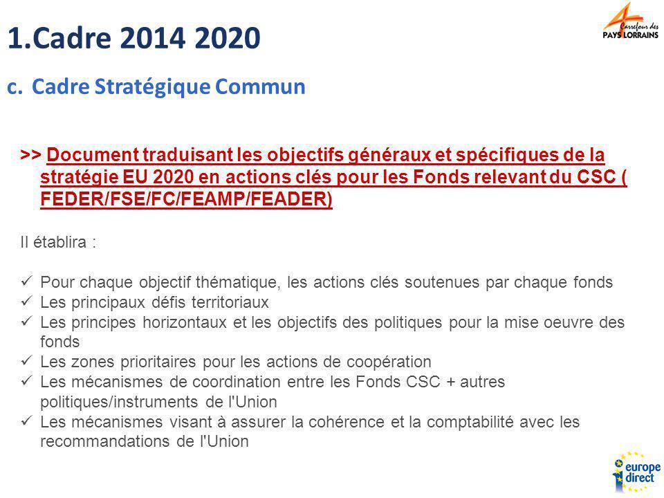 Cadre 2014 2020 Cadre Stratégique Commun