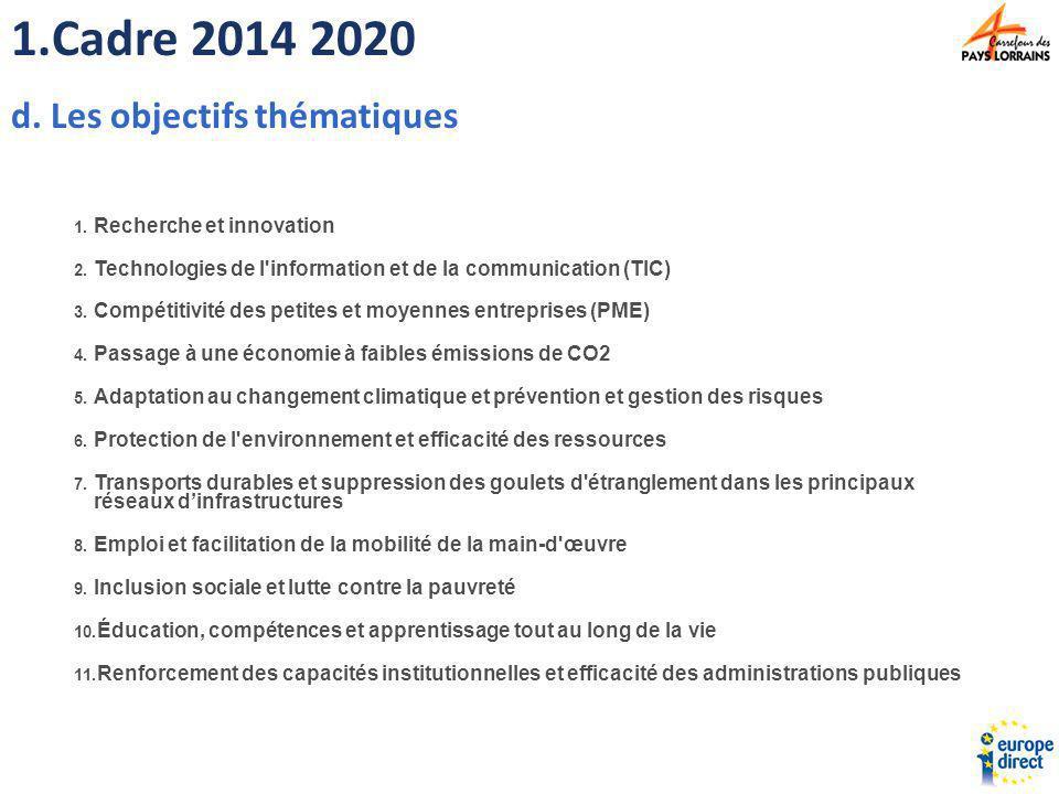 Cadre 2014 2020 Les objectifs thématiques Recherche et innovation