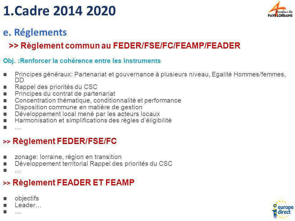 Cadre 2014 2020 Réglements. >> Règlement commun au FEDER/FSE/FC/FEAMP/FEADER. Obj. :Renforcer la cohérence entre les instruments.