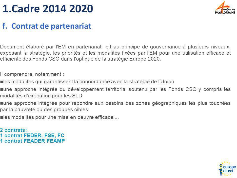 Cadre 2014 2020 Contrat de partenariat
