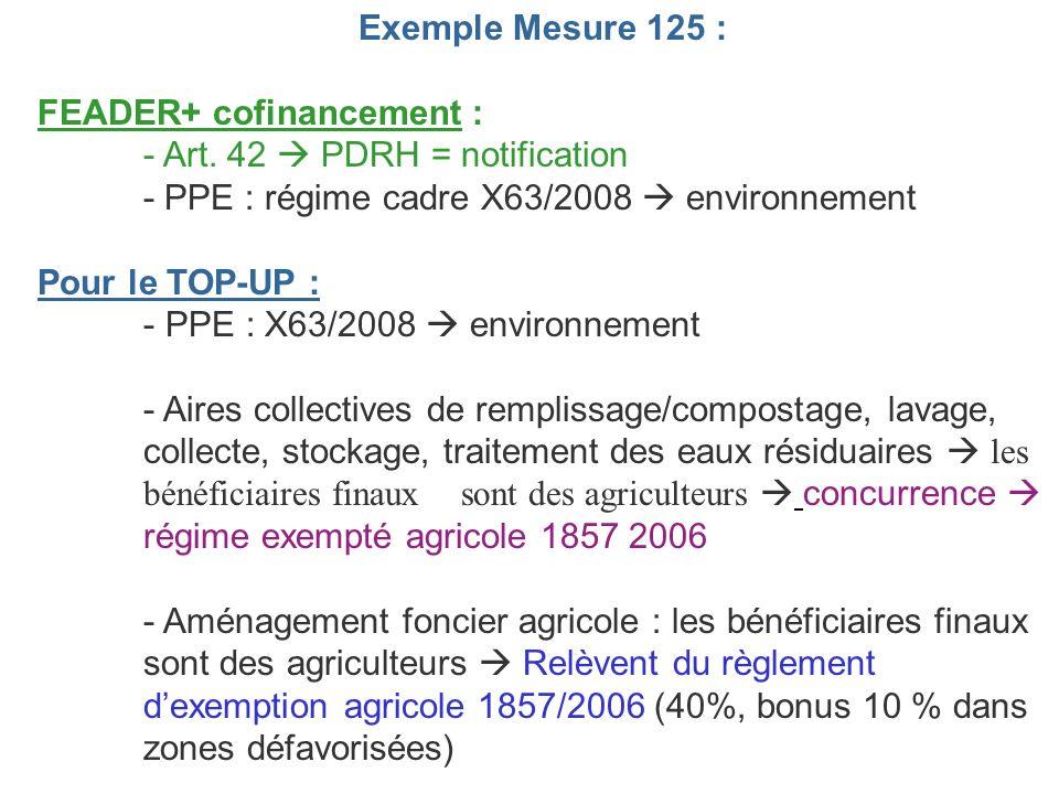 Exemple Mesure 125 : FEADER+ cofinancement : - Art. 42  PDRH = notification. - PPE : régime cadre X63/2008  environnement.