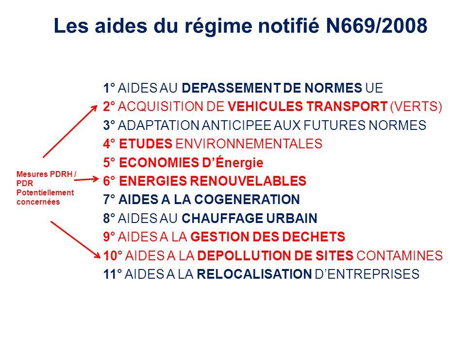 Les aides du régime notifié N669/2008