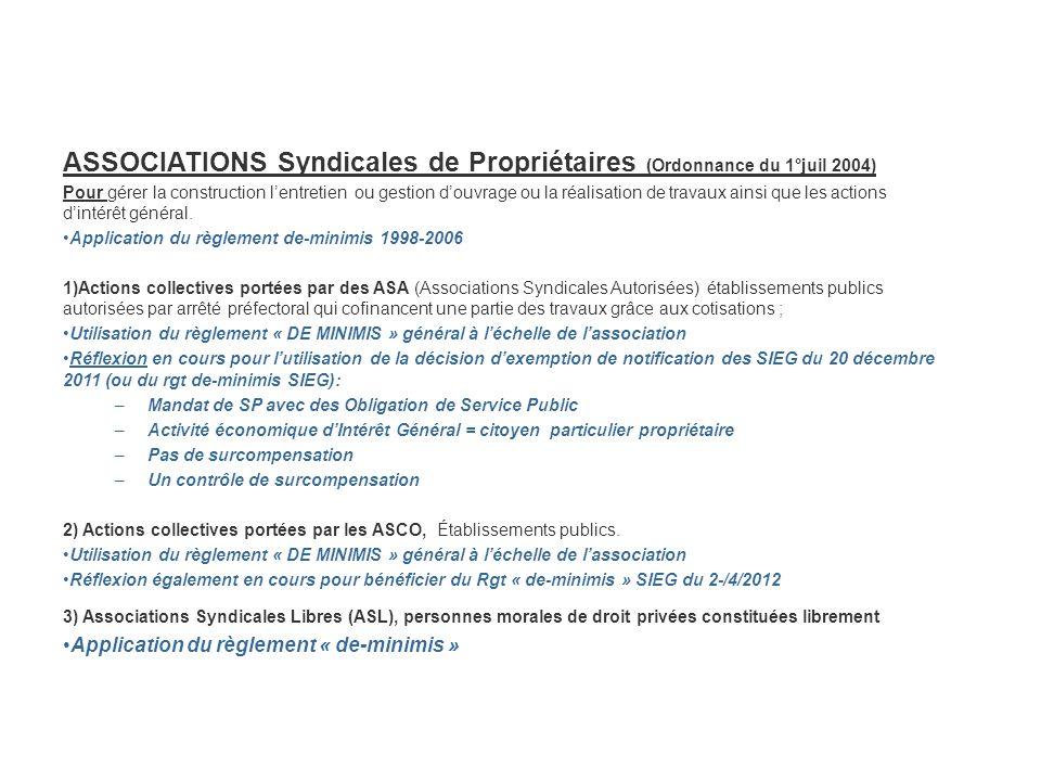ASSOCIATIONS Syndicales de Propriétaires (Ordonnance du 1°juil 2004)