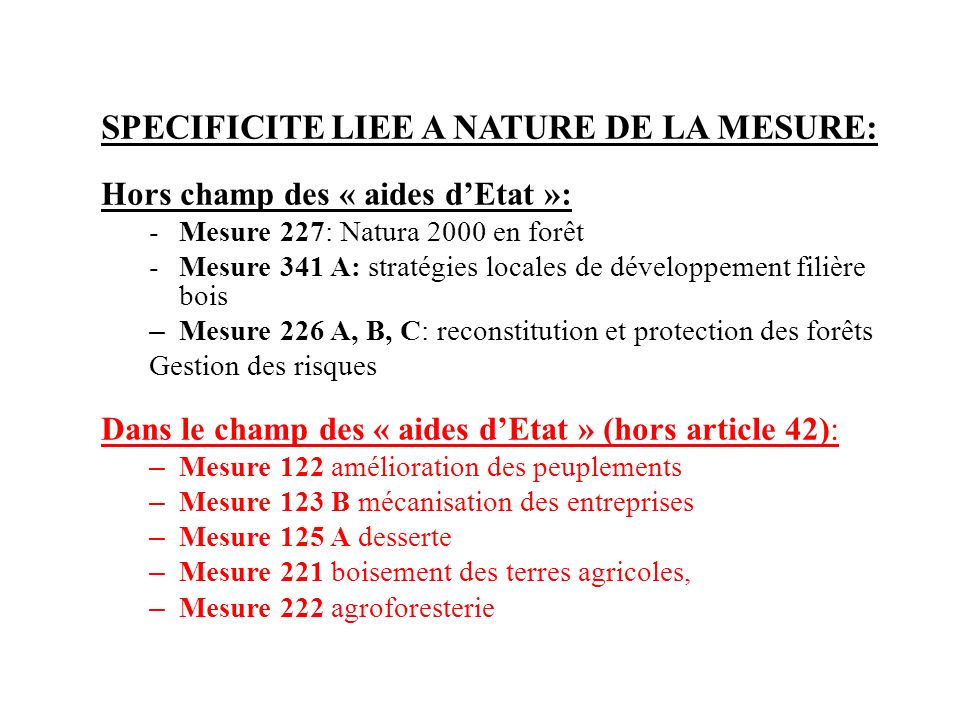 SPECIFICITE LIEE A NATURE DE LA MESURE: