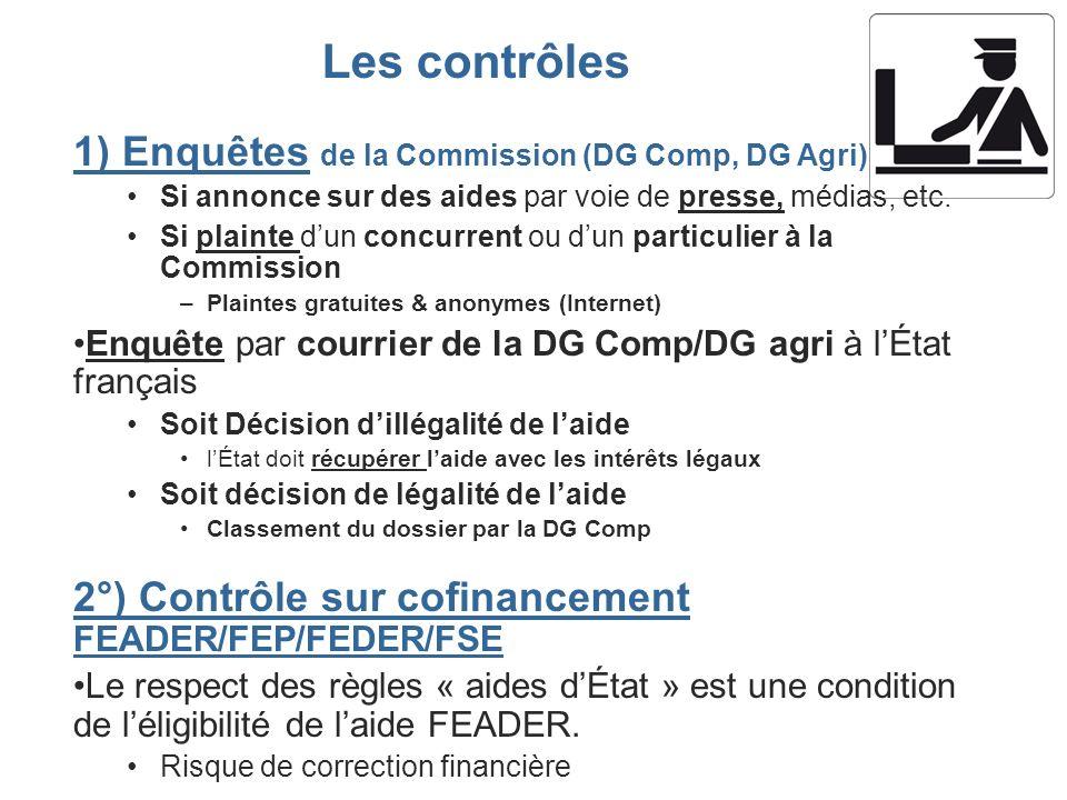 Les contrôles 1) Enquêtes de la Commission (DG Comp, DG Agri)