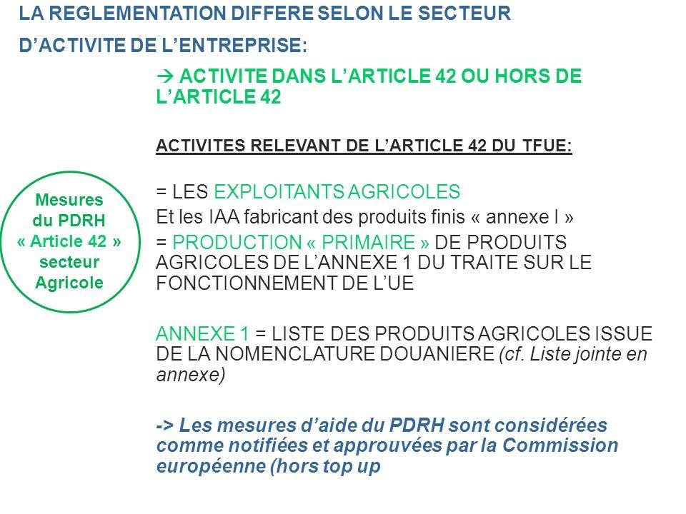 « Article 42 » secteur Agricole