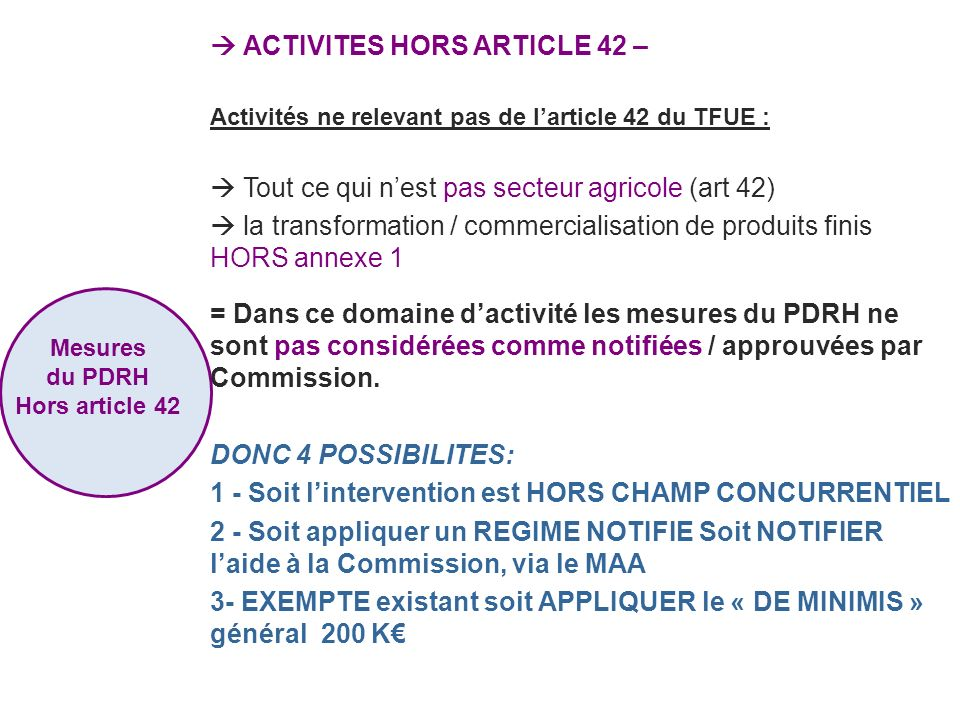  ACTIVITES HORS ARTICLE 42 –