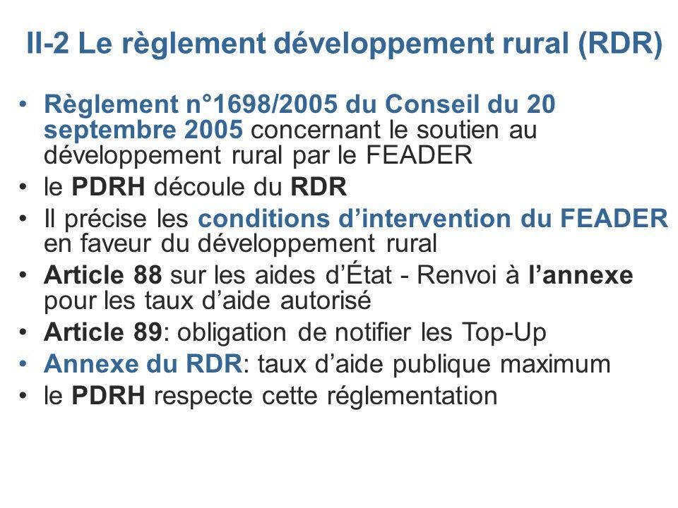 II-2 Le règlement développement rural (RDR)