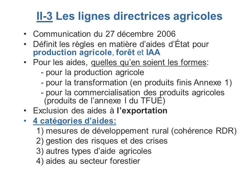 II-3 Les lignes directrices agricoles