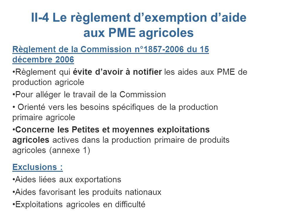 II-4 Le règlement d'exemption d'aide aux PME agricoles