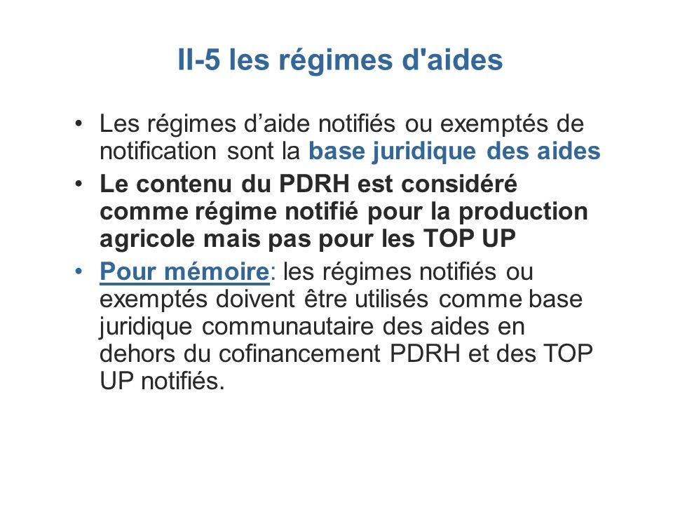 II-5 les régimes d aides Les régimes d'aide notifiés ou exemptés de notification sont la base juridique des aides.