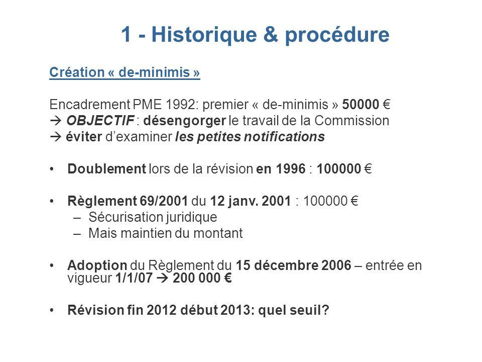 1 - Historique & procédure