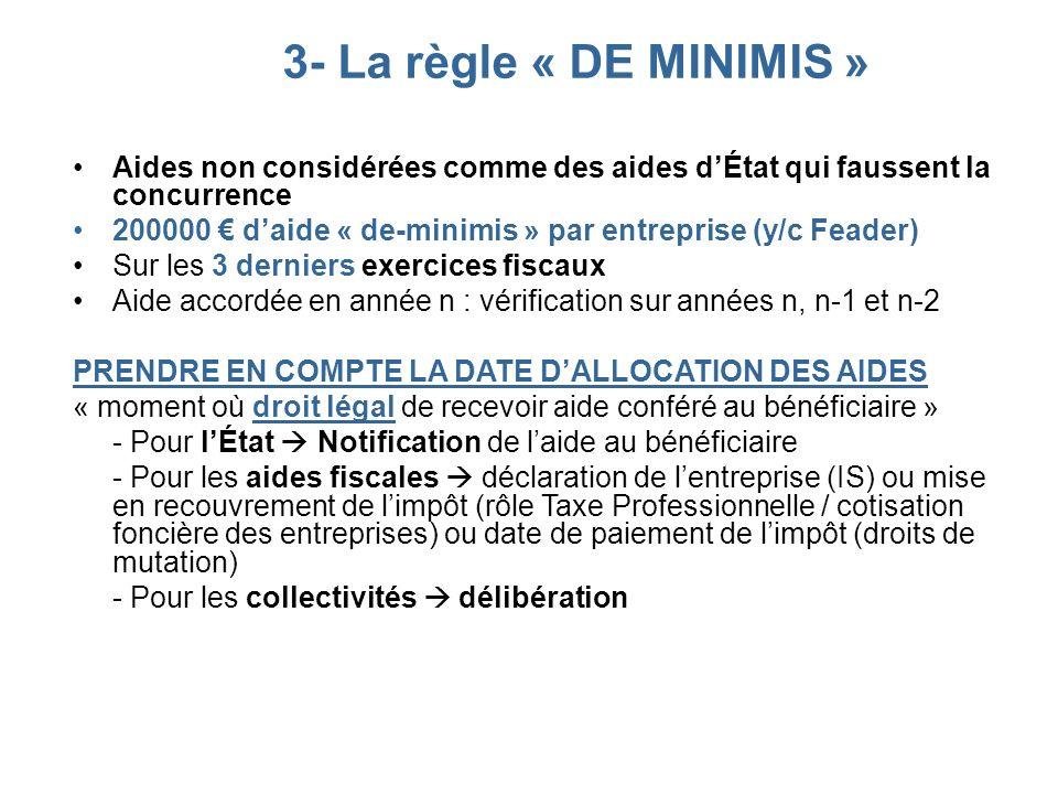 3- La règle « DE MINIMIS » Aides non considérées comme des aides d'État qui faussent la concurrence.
