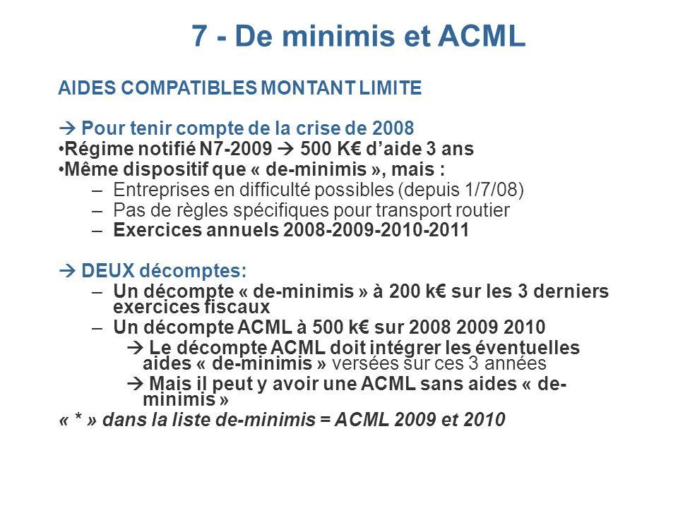 7 - De minimis et ACML AIDES COMPATIBLES MONTANT LIMITE