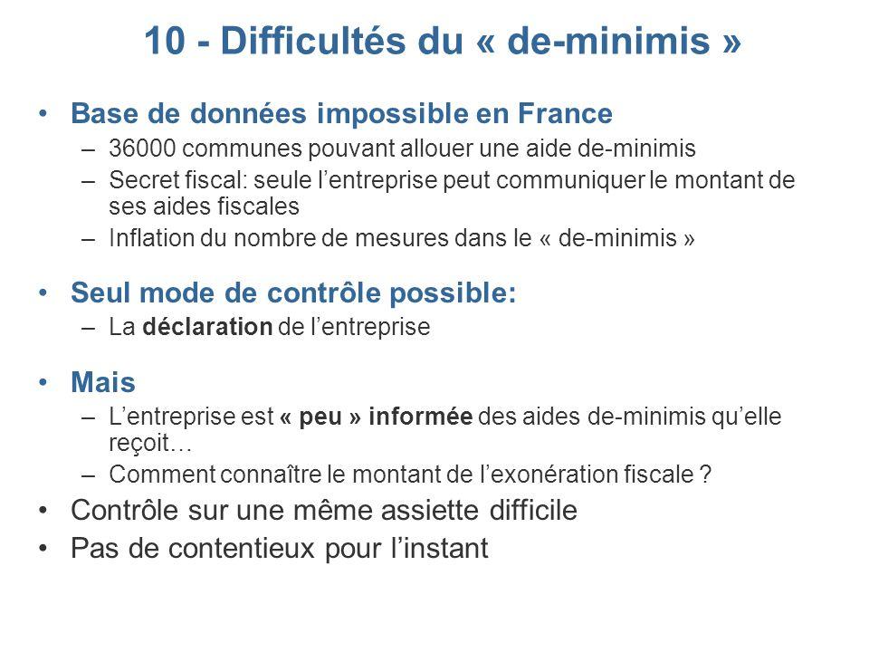 10 - Difficultés du « de-minimis »