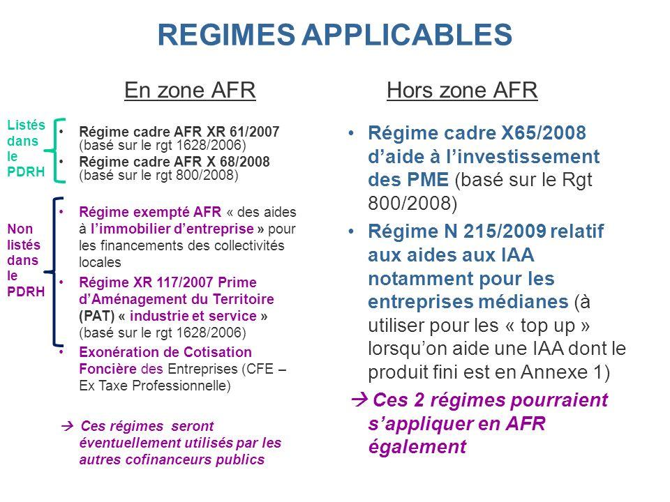REGIMES APPLICABLES En zone AFR Hors zone AFR