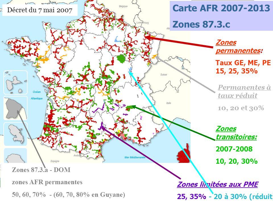 Carte AFR 2007-2013 Zones 87.3.c Décret du 7 mai 2007