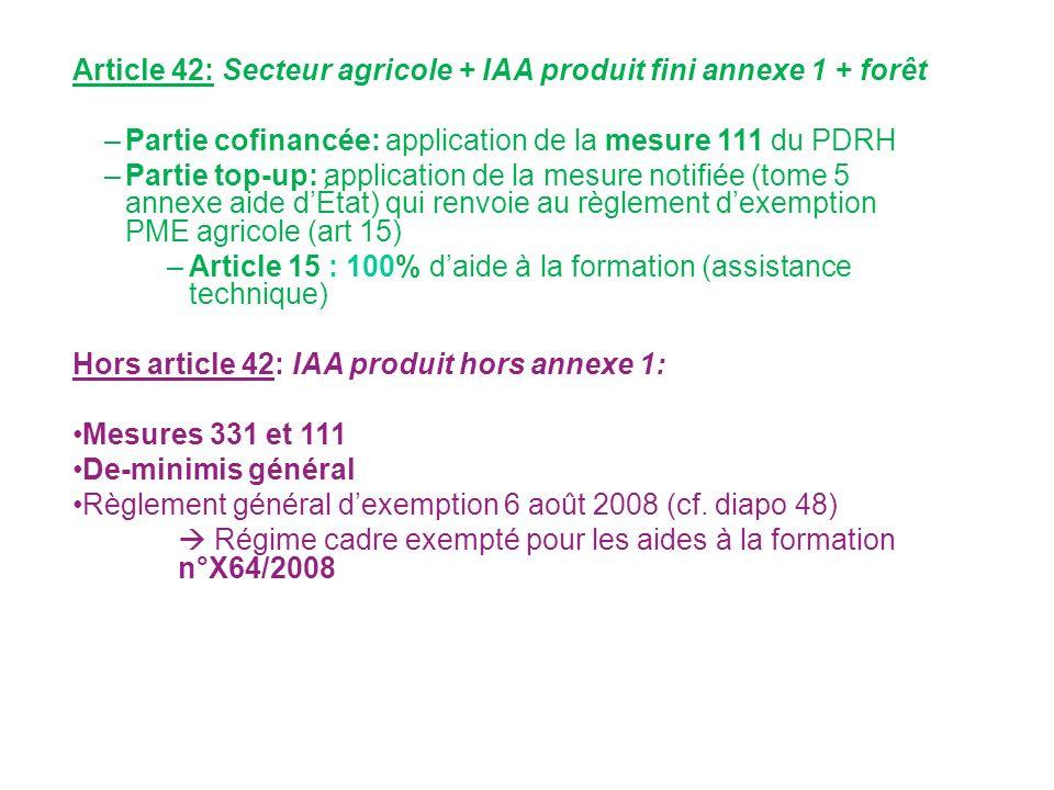 Article 42: Secteur agricole + IAA produit fini annexe 1 + forêt
