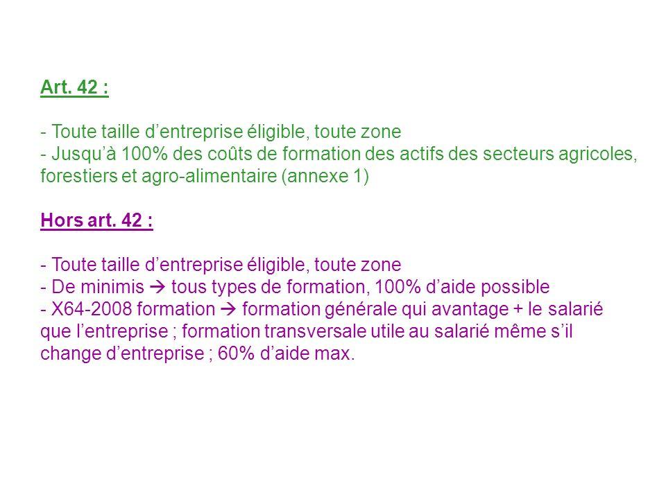 Art. 42 : - Toute taille d'entreprise éligible, toute zone.