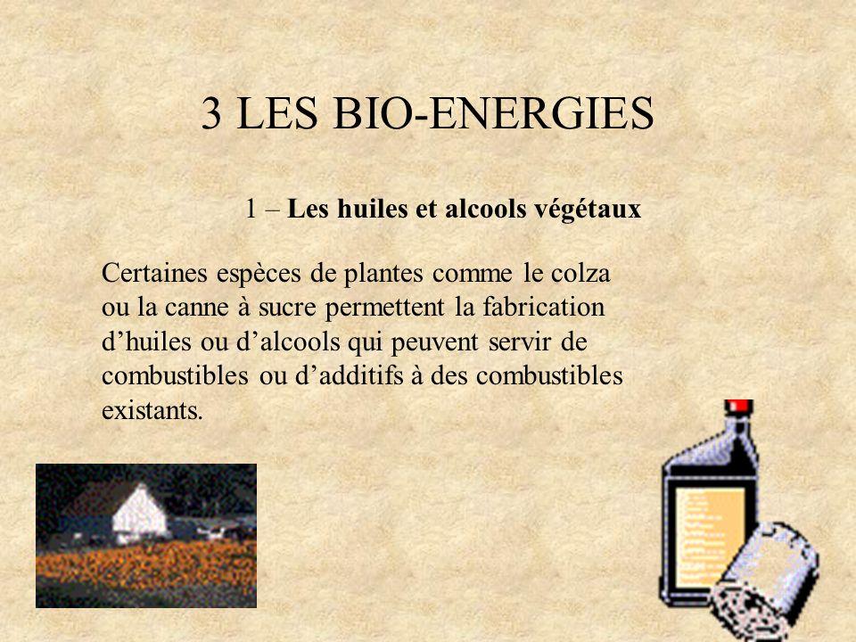 3 LES BIO-ENERGIES 1 – Les huiles et alcools végétaux