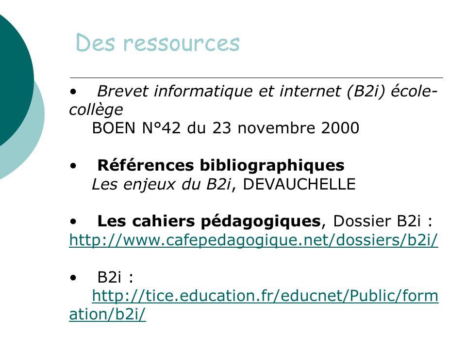 Des ressources Brevet informatique et internet (B2i) école-collège