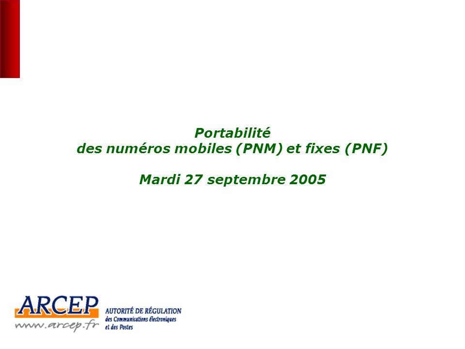 Portabilité des numéros mobiles (PNM) et fixes (PNF) Mardi 27 septembre 2005
