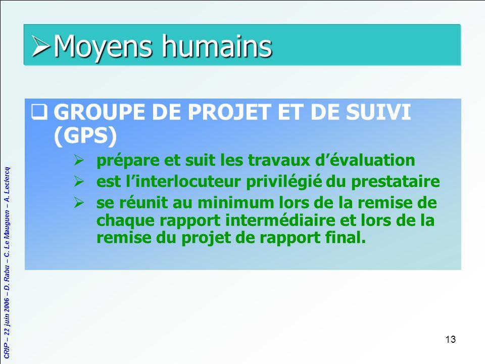 Moyens humains GROUPE DE PROJET ET DE SUIVI (GPS)