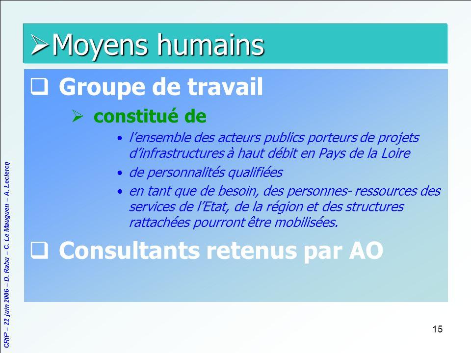 Moyens humains Groupe de travail Consultants retenus par AO