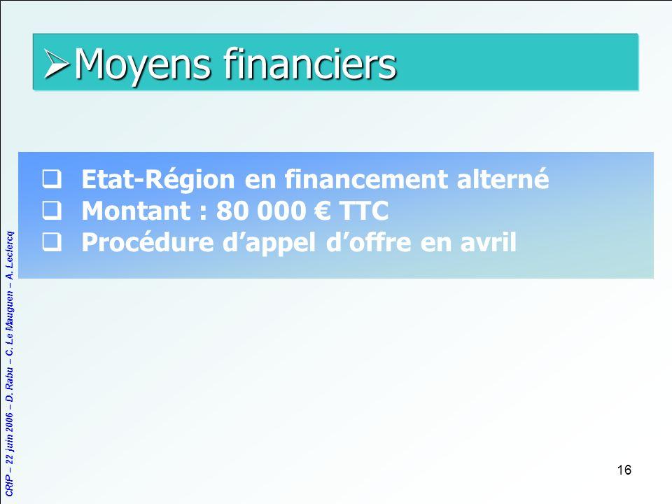 Moyens financiers Etat-Région en financement alterné