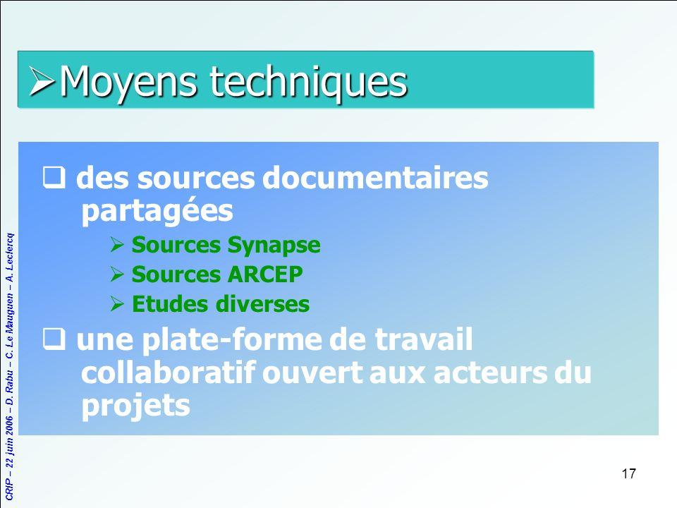 Moyens techniques des sources documentaires partagées