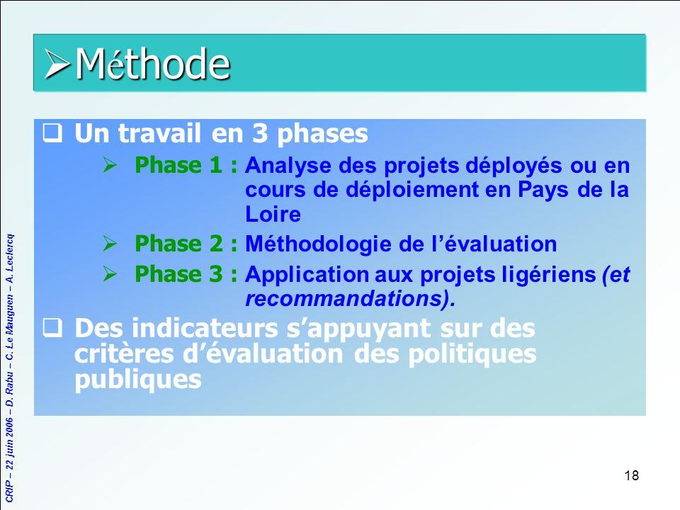 Méthode Un travail en 3 phases