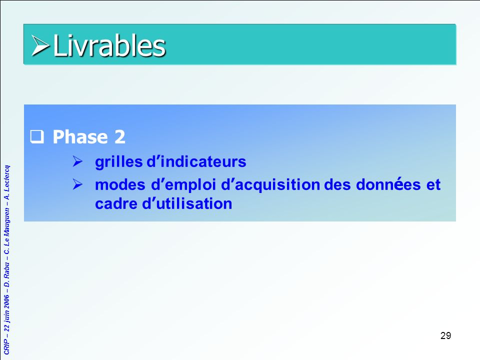 Livrables Phase 2 grilles d'indicateurs