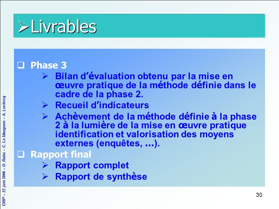 Livrables Phase 3. Bilan d'évaluation obtenu par la mise en œuvre pratique de la méthode définie dans le cadre de la phase 2.