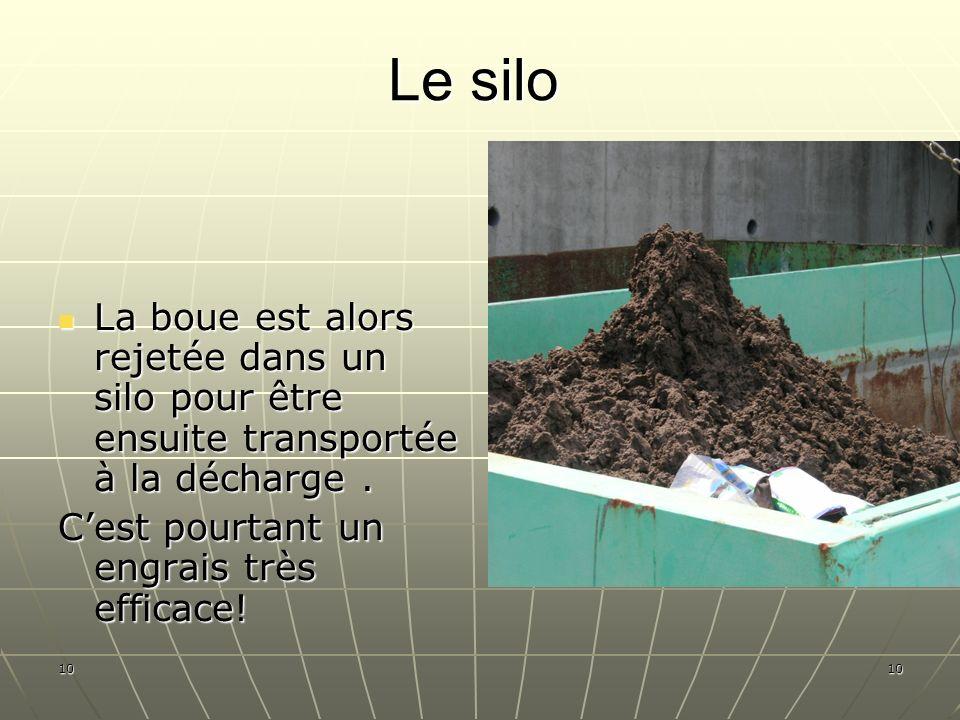 Le siloLa boue est alors rejetée dans un silo pour être ensuite transportée à la décharge . C'est pourtant un engrais très efficace!
