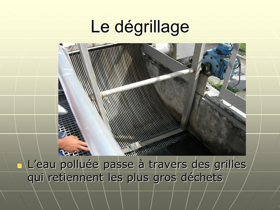 Le dégrillage L'eau polluée passe à travers des grilles qui retiennent les plus gros déchets