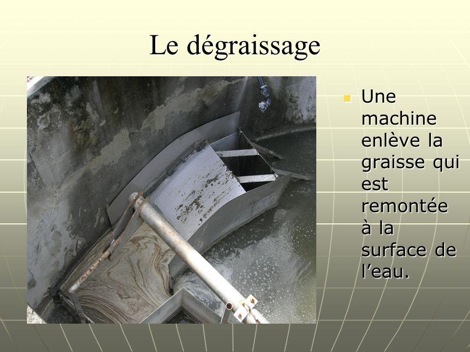 Le dégraissage Une machine enlève la graisse qui est remontée à la surface de l'eau.